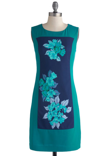 Hibiscus Bliss Dress - Mid-length, Woven, Floral, Sheath / Shift, Sleeveless, Better, Scoop, Blue, Daytime Party