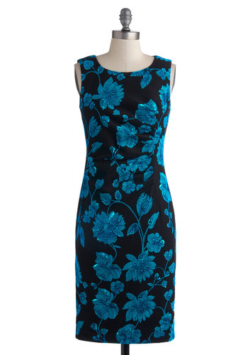 Opine and Dine Dress - Long, Cotton, Blue, Black, Floral, Ruching, Party, Sheath / Shift, Tank top (2 thick straps), Better, Scoop, Wedding, Work, Cocktail