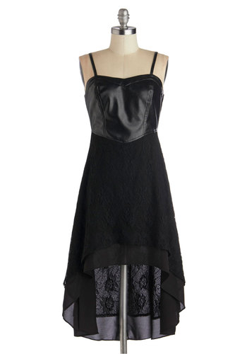 In with the Edgy Dress - Black, Solid, Lace, Party, High-Low Hem, Spaghetti Straps, Sweetheart, Mid-length, Sheer, Faux Leather, Woven, Good, Exposed zipper, Girls Night Out
