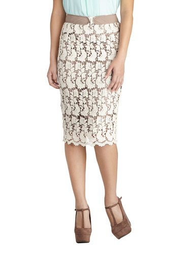 Gladiola You Made It Skirt - Cream, Lace, Work, Pencil, Cotton, Knit, Daytime Party, Mid-length, White