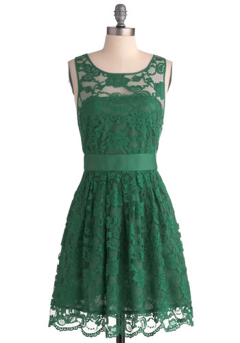 When the Night Comes Dress in Emerald by BB Dakota - Exclusives, Variation, Green, Solid, Wedding, Party, Bridesmaid, A-line, Sleeveless, Scoop, Better, Daytime Party, Graduation, Sheer, Woven, Special Occasion, Cocktail, Holiday Party, Prom, Lace, Mid-length