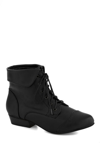Bandmate Bootie in Black - Black, Solid, Steampunk, Low, Good, Lace Up, Faux Leather, Casual, Variation, Fall