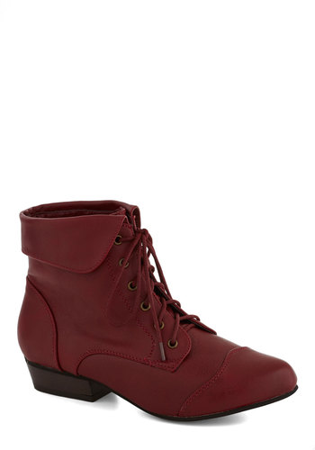 Bandmate Bootie in Red - Red, Solid, Low, Good, Lace Up, Faux Leather, Casual, Variation, Fall, Top Rated