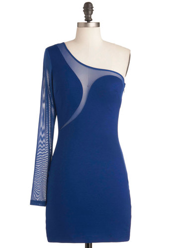 Sass Media Dress - Short, Blue, Solid, Cutout, Mini, One Shoulder, Party, Girls Night Out, Bodycon / Bandage, Sheer, Top Rated