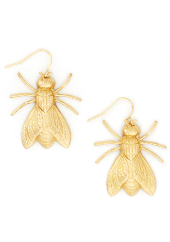 Nocturnal Wings Earrings - Gold, Print with Animals, Solid, Gold