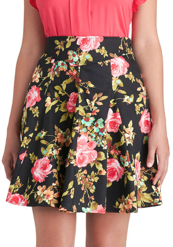 In Vivid Color Skirt - Black, Floral, Cotton, Short, Woven, Work, Daytime Party, Ballerina / Tutu, Black, Spring, Summer