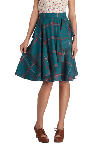 Elegant and Intelligent Skirt by Myrtlewood - Cotton, Mid-length, Green, Red, Plaid, Ruffles, Work, Vintage Inspired, Scholastic/Collegiate, Fit & Flare, Tiered, Daytime Party, Exclusives, Private Label