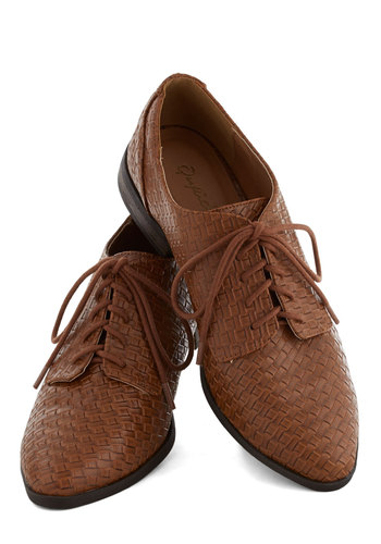 Peach Picking Flat - Solid, Woven, Menswear Inspired, Good, Lace Up, Low, Brown, Casual, Faux Leather