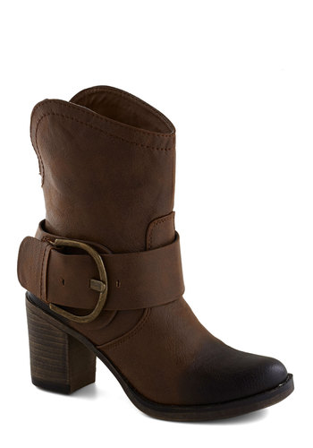 Best of the Fest Boot - Brown, Buckles, Boho, Good, Chunky heel, Mid, Faux Leather, Solid