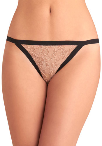 Sumptuous Special Thong - Solid, Lace, Colorblocking, Sheer, Boudoir, Knit, Tan, Black, Lace