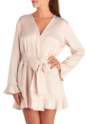 Balcony Blushing Robe - Pink, Solid, Ruffles, Long Sleeve, Satin, Woven, Belted, Pastel