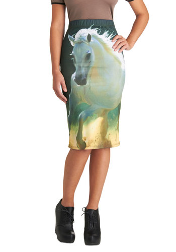 Equine by Me Skirt - Long, Multi, Print with Animals, Pencil, Good, Statement, Casual, Girls Night Out, Knit, Multi, Gifts Sale