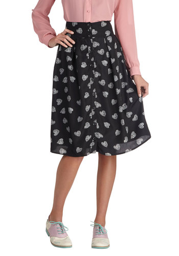 Heart Chic Skirt - Long, Chiffon, Woven, Black, Print, Buttons, Casual, Daytime Party, Black, Midi