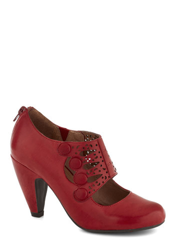 Breathe Prestige Heel by Miz Mooz - Red, Solid, Buttons, Cutout, Work, Mid, Leather, Best, Party, Vintage Inspired, 30s, 40s, Folk Art