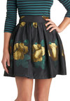 In the Garden Skirt - Black, Floral, Party, Short, Woven, Pleats, Ballerina / Tutu, Black