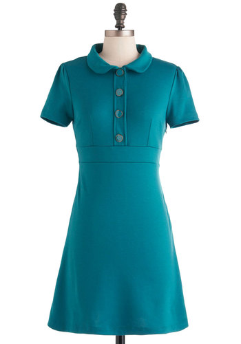 Herbs to Taste Dress - Casual, Vintage Inspired, Blue, Solid, Buttons, Peter Pan Collar, 60s, Short Sleeves, Scholastic/Collegiate, Button Down, Collared, Fit & Flare, Mod, Top Rated, Short