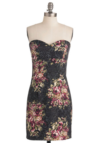 Filigree and Floral Dress in Sheath - Grey, Green, Purple, Black, Floral, Strapless, Multi, Party, Sheath / Shift, Cotton, Cocktail, Mid-length, Sweetheart