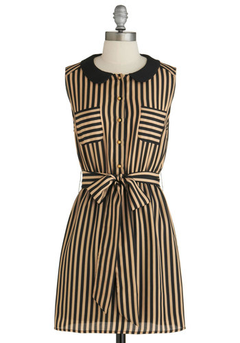 Foot Tour Dress - Mid-length, Tan / Cream, Black, Stripes, Buttons, Peter Pan Collar, Pockets, Shirt Dress, Sleeveless, Belted, Steampunk, Scholastic/Collegiate, Collared, Exclusives