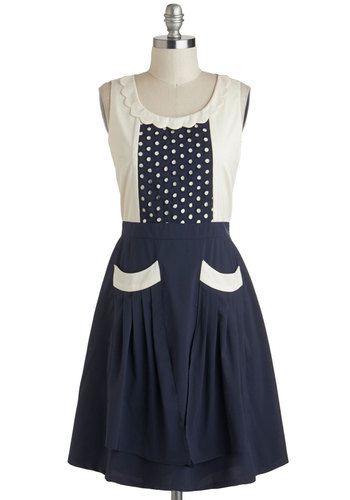 Detail Ornamented Dress - Blue, Tan / Cream, Pockets, Scallops, Casual, Vintage Inspired, A-line, Tank top (2 thick straps), Scoop, Polka Dots, Mid-length, Folk Art, Top Rated