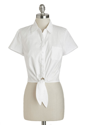 Little White Tie Top by Bettie Page - White, Solid, Buttons, Casual, Pinup, Vintage Inspired, Short Sleeves, Cotton, Short, Pockets, Menswear Inspired, Rockabilly, 50s, 60s, Cropped, Button Down, Collared, Summer, White, Short Sleeve
