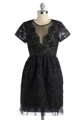 Dazzle and Enchant Dress by Yumi - Sheer, Woven, Mid-length, Black, Solid, Embroidery, Party, A-line, Short Sleeves, Best, Crew, Lace, Luxe, Wedding, Cocktail, Cotton, 20s, LBD