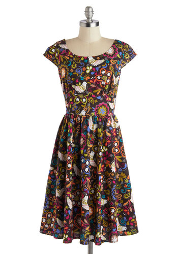 That's All, Folksy Dress - Print with Animals, Vintage Inspired, 70s, Cotton, Woven, Long, Brown, Multi, A-line, Cap Sleeves, Better, Scoop, Floral, Casual, Top Rated, Novelty Print