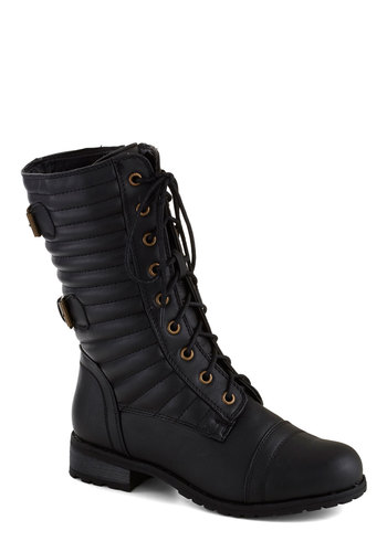 Stride and Seek Boot - Black, Solid, Buckles, Quilted, Flat, Lace Up, Faux Leather, Good, Casual, Urban