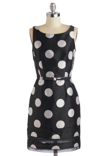 Dot Com & Collected Dress in Black - Mid-length, Sheer, Woven, Black, White, Polka Dots, Buttons, Party, Sheath / Shift, Sleeveless, Better, Scoop, Wedding, Cocktail, Silver, Work, Variation