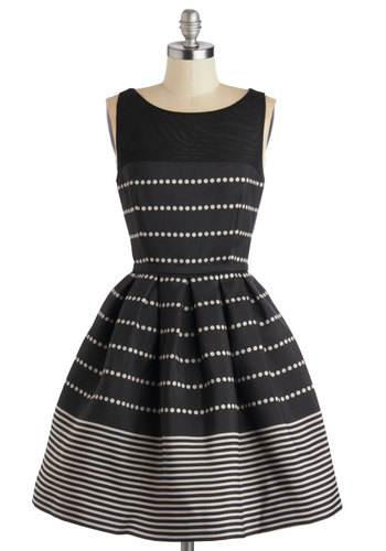 Promoting Elegance Dress in Black - Mid-length, Woven, Sheer, Black, White, Polka Dots, Stripes, Cutout, Cocktail, Fit & Flare, Sleeveless, Better, Scoop, Exposed zipper