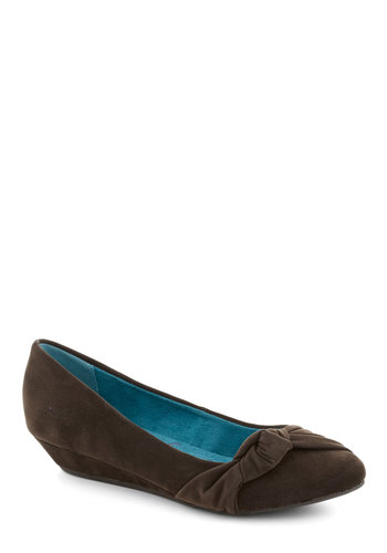 Knot So Surprised Wedge - Brown, Solid, Work, Wedge, Faux Leather