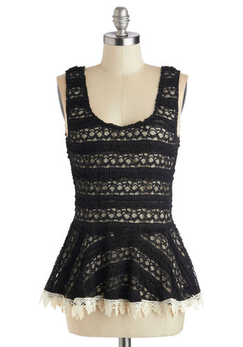 Enchant Believe Your Eyes Top - Knit, Mid-length, Black, Lace, Work, Peplum, Better, Tan / Cream, Solid, Crochet, Trim, Party, Daytime Party, Tank top (2 thick straps), Scoop, Black, Sleeveless