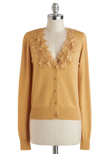 Crème Brûlée Day Cardigan - Knit, Short, Yellow, Solid, Flower, Long Sleeve, Better, Buttons, Work, Daytime Party, Yellow, Long Sleeve