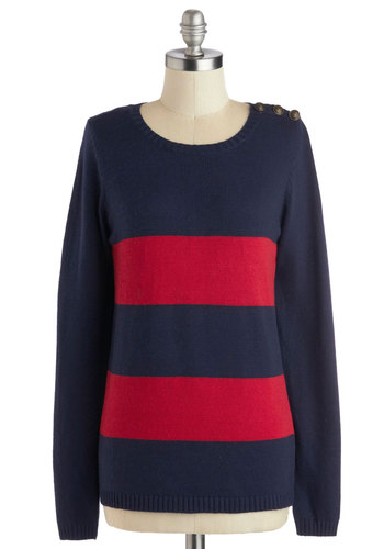 Fireside by Side Sweater - Knit, Blue, Red, Buttons, Long Sleeve, Better, Mid-length, Stripes, Casual, Nautical, Fall, Crew, Blue, Long Sleeve