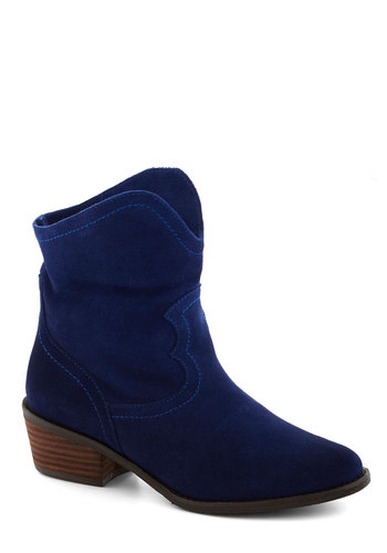 Always in Step Bootie - Blue, Chunky heel, Better, Mid, Leather, Suede, Solid