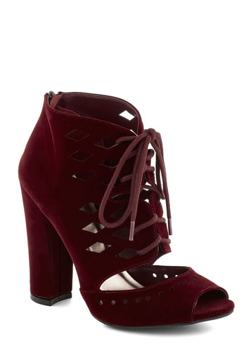 Greet and Seat Heel - Red, Solid, Cutout, High, Good, Lace Up, Peep Toe, Chunky heel, Faux Leather, Party
