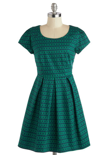 That Print! Dress - Cotton, Woven, Green, Blue, Print, Pleats, Casual, A-line, Short Sleeves, Good, Scoop, Mid-length