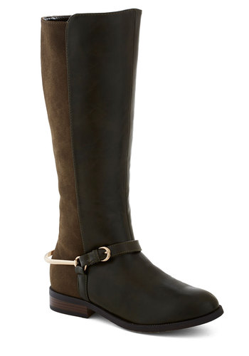 Horse Show and Tell Boot - Brown, Tan / Cream, Buckles, Colorblocking, Better, Low, Faux Leather, Fall