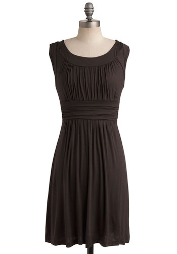 I Love Your Dress in Chocolate - Best Seller, Brown, Solid, Casual, Minimal, A-line, Sleeveless, Good, Scoop, Jersey, Knit, Ruching, Basic, Variation, Work, Mid-length