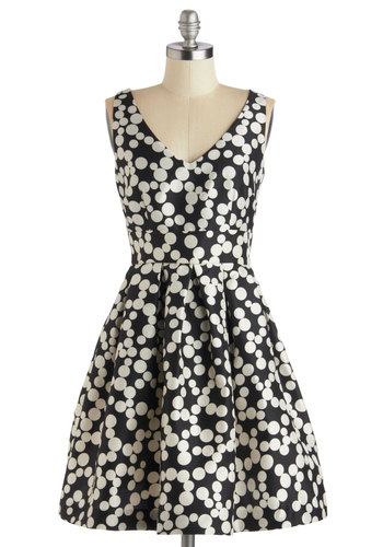 Bubble Your Luck Dress in Noir - Mid-length, Black, White, Polka Dots, Pleats, Pockets, Party, Fit & Flare, Tank top (2 thick straps), Better, V Neck, Formal, Cocktail, Prom, Wedding, Variation