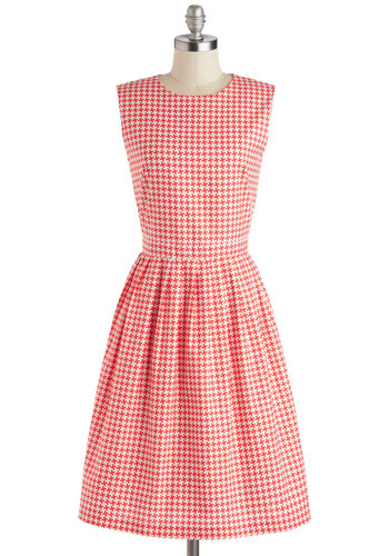 Diner Delight Dress by Myrtlewood - Red, White, Pleats, A-line, Sleeveless, Better, Crew, Private Label, Daytime Party, Exclusives, Long, Cotton, Woven, Houndstooth, Vintage Inspired