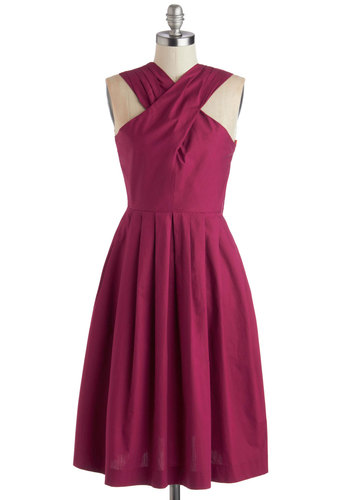 Scenic Ceremony Dress by Myrtlewood - Pink, Solid, Pleats, Party, A-line, Better, Exclusives, Long, Cotton, Woven, Halter, Private Label