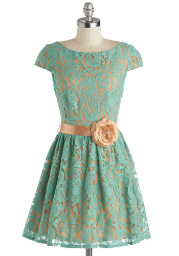 Mint to Dazzle Dress - Mint, Tan / Cream, Flower, Belted, Party, A-line, Cap Sleeves, Better, Pearls, Rhinestones, Knit, Wedding, Bridesmaid, Lace
