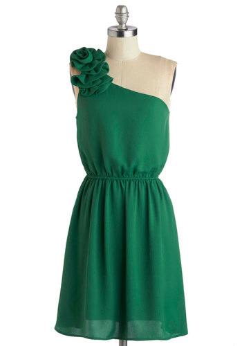 Rosette to Go Dress - Green, Solid, Flower, Wedding, Party, Bridesmaid, A-line, One Shoulder, Good, Chiffon, Woven, Mid-length, Cocktail, Prom
