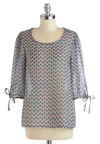 Like a Pro-boscidean Top - Blue, Print with Animals, Good, Chiffon, Sheer, Woven, Mid-length, Tan / Cream, Casual, 3/4 Sleeve, Scoop, Blue, 3/4 Sleeve