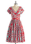 Destination, Dancing Dress in Op Art by Bernie Dexter - Red, Blue, Print, Belted, Daytime Party, Fit & Flare, Short Sleeves, V Neck, Variation, Better, Cotton, Woven, Party, Statement, Novelty Print, Long