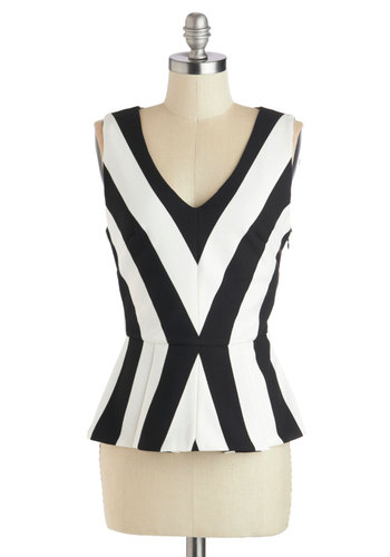Contemporary Cloister Top - White, Daytime Party, Peplum, Sleeveless, Mid-length, Black, Chevron, Cotton, V Neck, White, Sleeveless