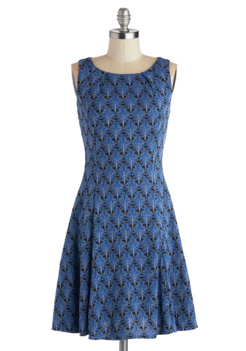 Be-Leaf What You See Dress - Mid-length, Knit, Blue, Black, Print, Party, A-line, Sleeveless, Good, Scoop, Silver, Work, Daytime Party, 20s