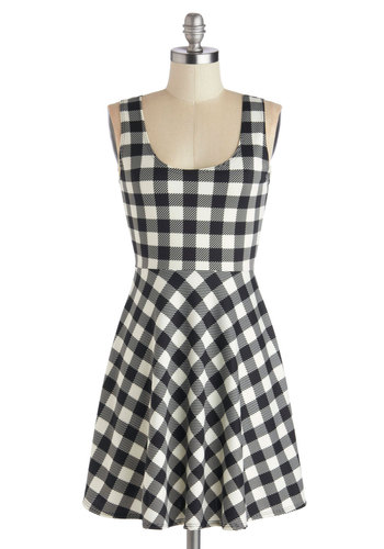 Potluck Block Party Dress - Knit, Mid-length, Black, White, Checkered / Gingham, Casual, A-line, Tank top (2 thick straps), Good, Scoop, Plaid