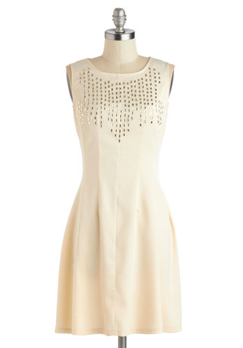 Two for the Glow Dress - Cream, Solid, Beads, Party, A-line, Tank top (2 thick straps), Mid-length, Woven, Good, Rhinestones, Cocktail