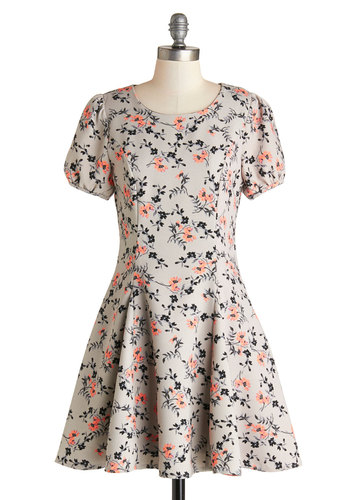 A Fine Vine Dress - Grey, Pink, Black, Floral, Casual, A-line, Short Sleeves, Short, Better, Scoop